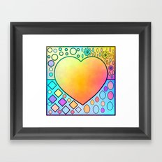 Heart with circles and flowers Framed Art Print