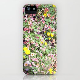 pink and yellow flowers iPhone Case
