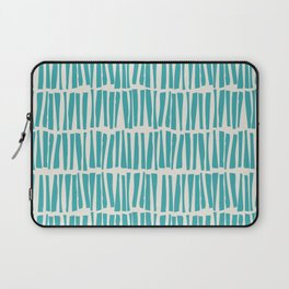 Aqua Teal Turquoise Solid Color Vertical Dash Stripe Line Pattern on Alabaster White - Aquarium SW 6767 Laptop Sleeve
