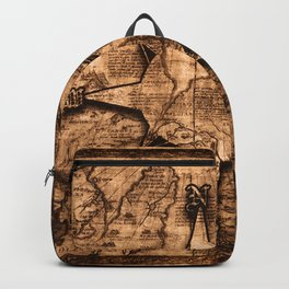 Antique World Map & Compass Rose Backpack