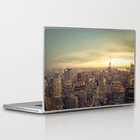 new york skyline Laptop & iPad Skins featuring New York Skyline Cityscape by Vivienne Gucwa