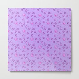 Seamless patterns with flowers and hearts on purple background Metal Print