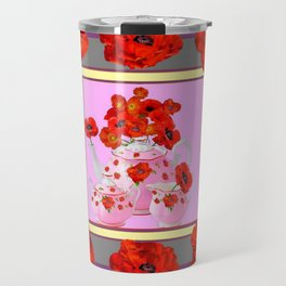 ORANGE POPPIES & PORCELAIN TEA SERVICE FLORAL ART Travel Mug