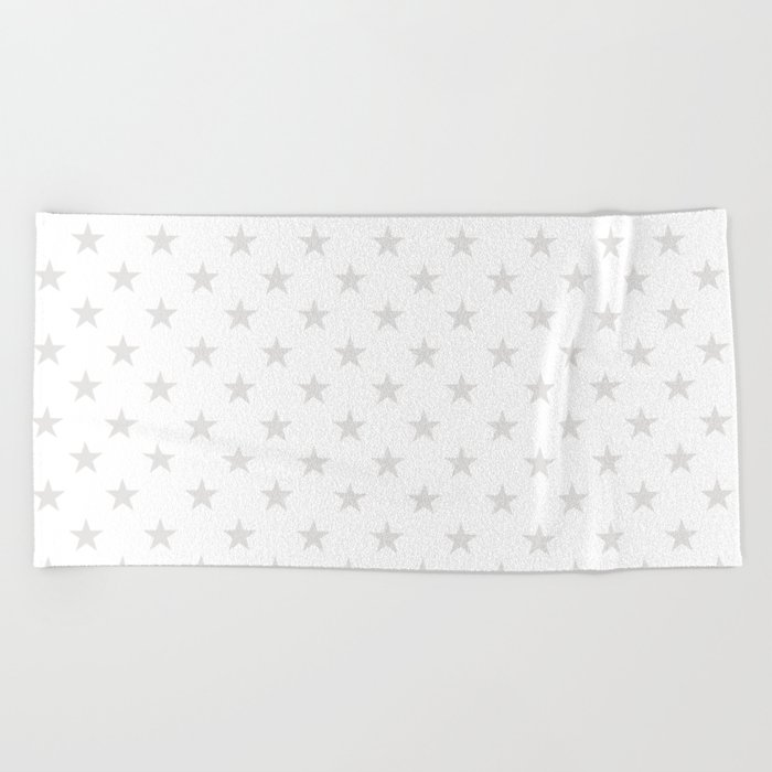 Stars (Platinum/White) Beach Towel