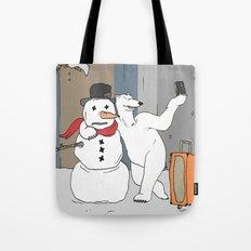 Selfie - Polar Bear and Snowman Tote Bag