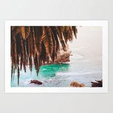 vintage ocean #palm tree Art Print