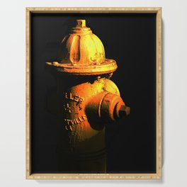 Fire Hydrant Orange and Black Art - Hot - Sharon Cummings Serving Tray