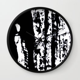 Blank: a minimal black and white linoprint Wall Clock