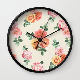 Retro Peach and Pink Roses Wall Clock