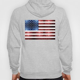USA flag red blue sparkles glitters Hoody