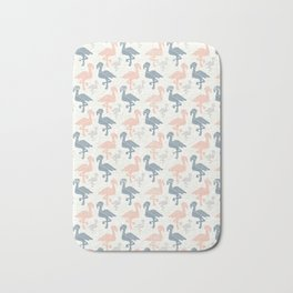 Trendy Pink and Blue Pastel Flamingo Silhouette Bath Mat