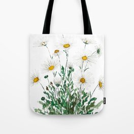 white Margaret daisy watercolor Tote Bag