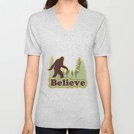 Bigfoot Believe Unisex V-Neck