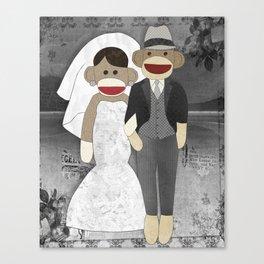 Sock Monkey Wedding Canvas Print