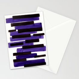 Purple Primitive Stripes Mid Century Modern Minimalist Watercolor Gouache Painting Colorful Stripes Stationery Cards