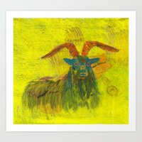 goat Art Prints featuring Goat by Catherine Johnson
