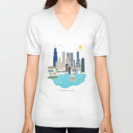 Chicago Illustration Unisex V-Neck