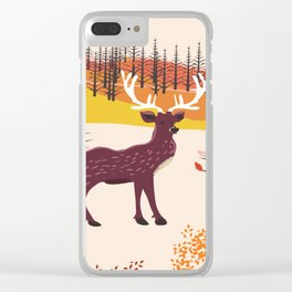 Stag in the wilderness vintage illustration Clear iPhone Case