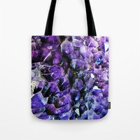 geode Tote Bags featuring Amethyst Geode by The Wellington Boot