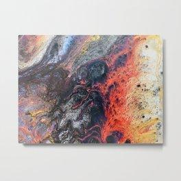 Vivid Crawling Nova Acrylic Pour Metal Print