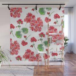Red malvon pattern Wall Mural