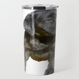 Adorable and Cute Black Labrador Puppy Vector Travel Mug