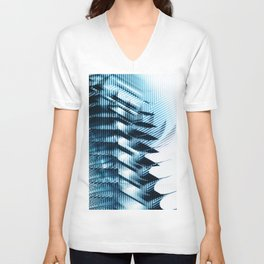 Futuristic building? Illusion with striped shapes and abstract light Unisex V-Neck