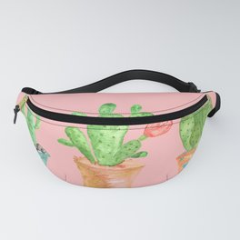 Three Green Cacti On Pink Background Fanny Pack