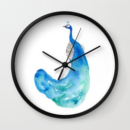 Watercolor Peacock Wall Clock