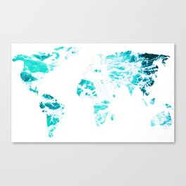 World Map in Turquoise Sea Canvas Print