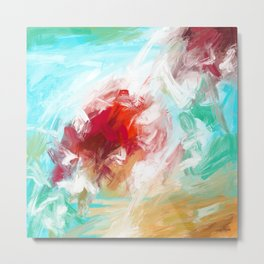 Center of Attraction Acrylic Abstract with Prominent Red and Green Metal Print