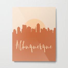 ALBUQUERQUE NEW MEXICO CITY SUN SKYLINE EARTH TONES Metal Print