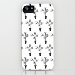 Palm Tree Silhouette Tropical Print in Black and White iPhone Case
