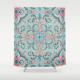 Gypsy Floral in Red & Blue Shower Curtain
