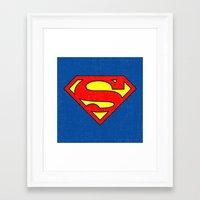 superman Framed Art Prints featuring Superman by Alisa Galitsyna