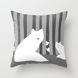 White foxes Throw Pillow