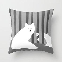 White foxes Throw Pillow