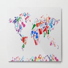 world map music 3 Metal Print