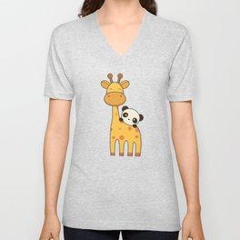 Cute and Kawaii Giraffe and Panda Unisex V-Neck