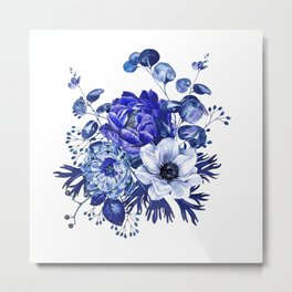 China Blue Porcelain, Asia, Peony, Flower, Floral, Cyan Metal Print