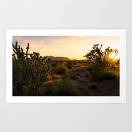 Sunset Scene at the Desert Landscape Photography Art Print
