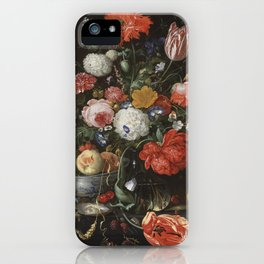 Jan Davidsz de Heem - Flower Still Life with a Bowl of Fruit and Oysters (c.1665) iPhone Case