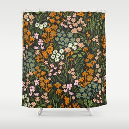 Night in the flowered meadow Shower Curtain