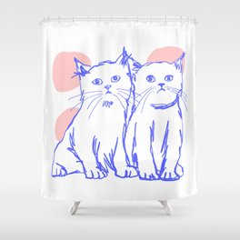 Katzen 002 / Minimal Line Drawing Of Two Cats Shower Curtain