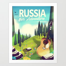 """Russia """"For adventure"""" Travel poster. Art Print"""