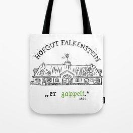 """Hofgut Falkenstein """"er Zappet"""" Black on White Tote Bag"""