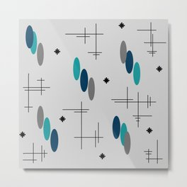 Ovals and Starbursts Teal Metal Print