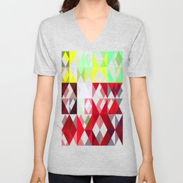Mixed Color Poinsettias 2 Abstract Triangles 1 Unisex V-Neck