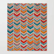 Teal, Red and Goldenrod chevron Canvas Print
