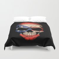 puerto rico Duvet Covers featuring Dark Skull with Flag of Puerto Rico by Jeff Bartels